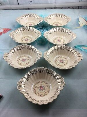 Antique1930's China Trojan by Sebring 22K Gold Toledo Delight Rimmed Set Of 7