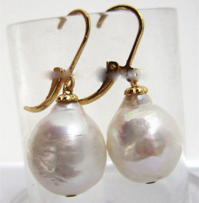 Huge 13X16mm South Sea Baroque Pearl Earrings 14K YELLOW GOLD CLASP AAA White