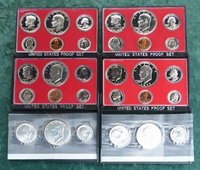 3 1975 S US Mint Proof Sets, 1977 S Proof Set, 2 Uncirc 3-Coin Sets, (30 Coins)