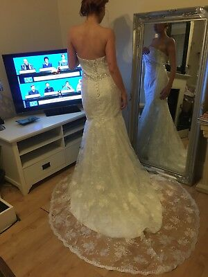 Jaeden Wedding Dress With Train Fitted Bnwt Size 10 Lace Embellished
