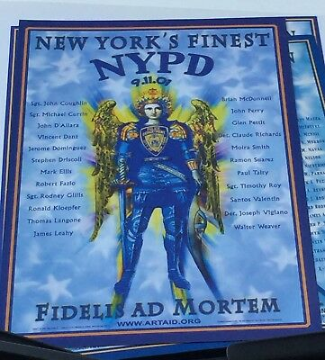 NYPD WTC St MICHAEL 911 World Trade Center Memorial Poster