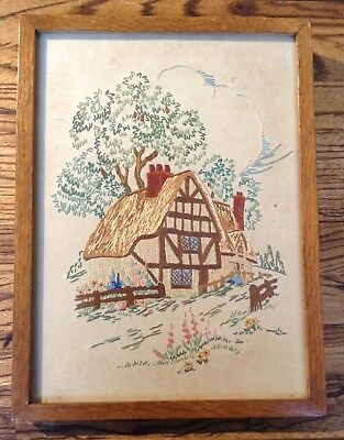 Vintage 1930/40s Small Heavy Oak Framed & Glazed Cottage Tapestry Embroidery