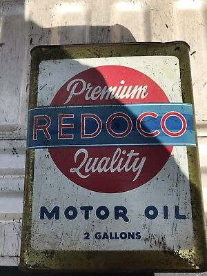 Vintage REDOCO RED HEAD OIL WOOSTER OHIO Advertising Metal Oil Gasoline Can