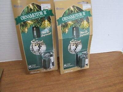 2 Ornamotor  II Rotating Ornament Motor Sealed Works W/ Your Mini Light  Sets