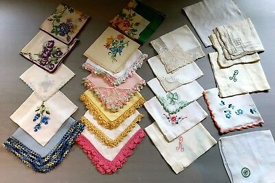 Vintage Lot of 22 Embroidered Scallop Linen Floral Handkerchiefs Hankies FAB!