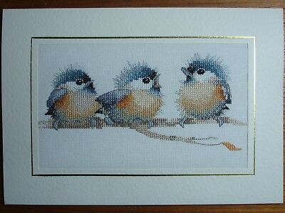 """Completed Cross Stitch Card - Three Little Birds - 7.5 x 10.5"""""""