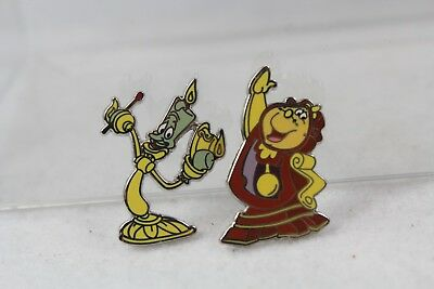 Disney Parks 2 Pin Set 115329 Beauty and the Beast Lumiere Cogsworth