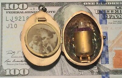 Antique Sterling Silver Walnut Miniature Compact Locket Perfume Scent Chatelaine