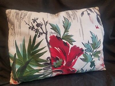 40's Glam White Floral VTG Barkcloth Fabric Pillow Vintage Pink & Red