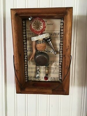 """Assemblage Art ,Shadow Box Vintage Findings """"Jocelyn"""" CocaCola crate Steampunk"""