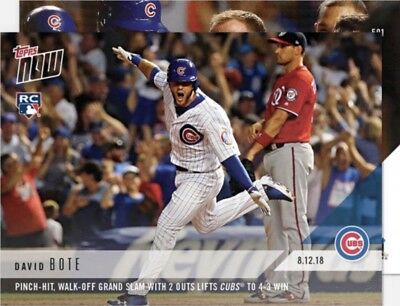 2018 Topps NOW 591 David Bote Grand Slam Cubs Win only 2089 Printed HOT