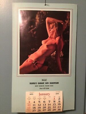 Vintage Advertising Calendar HANNA'S GARAGE and HARDWARE 1971 New Harbor, Maine