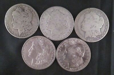 5 Morgan Dollars Pre-1921 Date Lot -  Silver Bullion Coins Not Junk, You Grade P