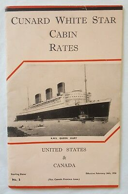 Rms Queen Mary Maiden Voyage 1936 Cunard White Star Line Cabin Rate Brochure ++