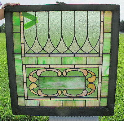 Antique Arts & Crafts LG Stained Glass Window Panel Architectural Salvage #1 yqz