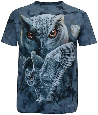 New Mens/Ladies Girls Owl 100% Cotton Tye Dye T - Shirt M - 2XL