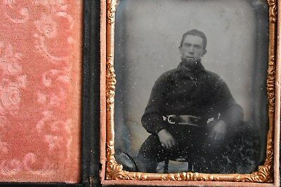 Fireman / Fire Fighter with Belt and Shirt Sixth Plate Ambrotype