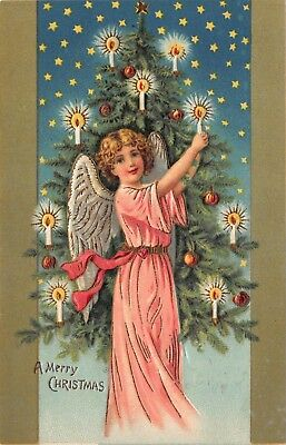 Gold Lined Christmas Postcard Child Angel Girl Putting Candles on a Tree~118888