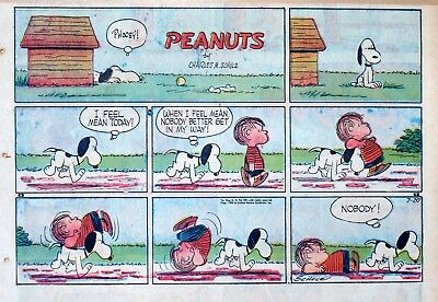 Peanuts by Charles Schulz - large half-page color Sunday comic - July 20, 1958