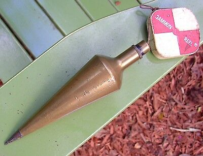 Vintage Brass Chicago 24 Plumb Bob - 21.4 oz - with Gammon Reel - Steel Tip