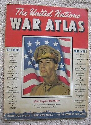 Vintage 1942 WWII United Nations War Atlas~General MacArthur~Military Maps