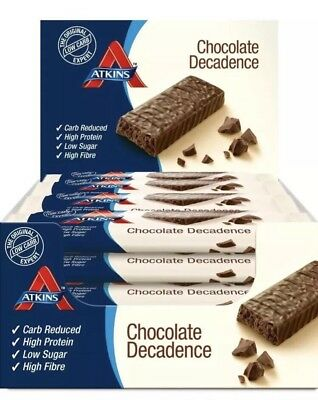Atkins Low Carb High Protein Chocolate Decadence Bars 9 x 60g -Brand New