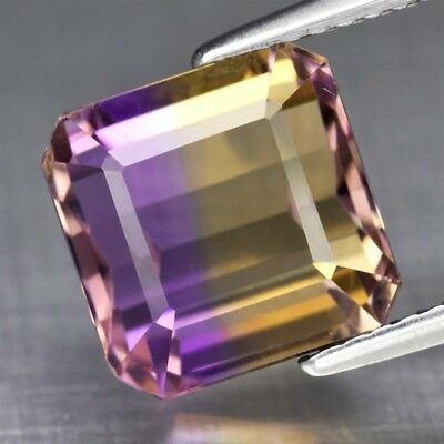 Top! VVS 5.37ct 9.2mm Octagon Natural Untreated Yellow & Purple Ametrine