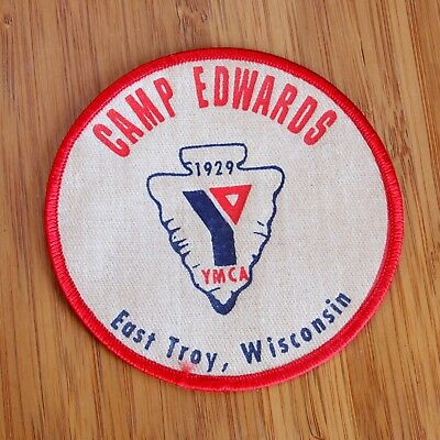 "Vintage 1929 YMCA Camp Edwards Patch East Troy Wisconsin 4"" Round Estate Find"