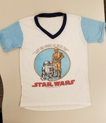 1977 STAR WARS Vintage C3PO & R2D2 Pajama Top Night Shirt Kids Sz M - L