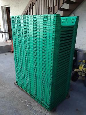 "66 Green 22"" X 26"" X 6"" Green Plastic Bread Trays Rack Delivery Service Bakery"