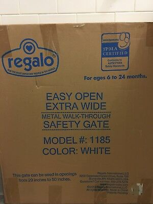 Regalo Extra Wide Step Through Baby Gate 29 -50 in. with Extensions Mount Fence