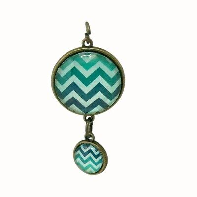 Doubled Sided Glass Tile Pendant Bronze Patterned Chevron Green Purple Blue