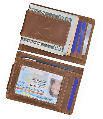 Mens Money Clip Wallet RFID Slim Genuine Leather Thin Front Pocket