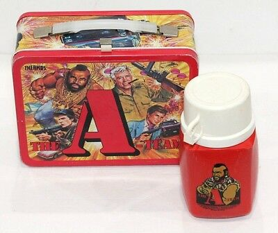 Vintage 1983 Thermos A-Team Metal Lunchbox & Mr T Plastic Thermos