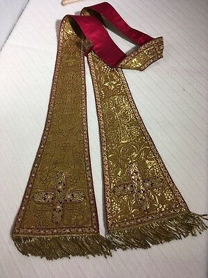 Gold Embroidered Priest Stole (Traditional, Liturgy, Vestment)