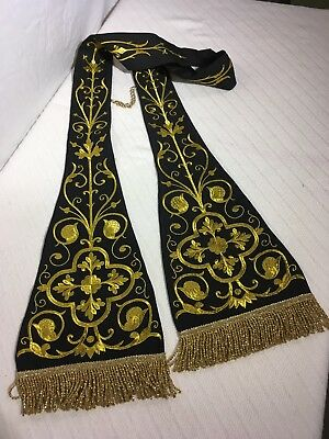 Black Priest Stole with Gold Embroidery (Traditional, Liturgy, Vestment)