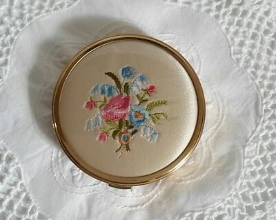 Vintage Gold Embroided Powder Compact