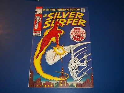 Silver Surfer #15 Silver Age Fine- Beauty Wow Human Torch Wow