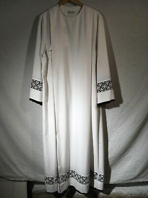 Almy White Wrinkle-Free Cassock Lace Alb (Traditional, Liturgy, Vestment, Mass)