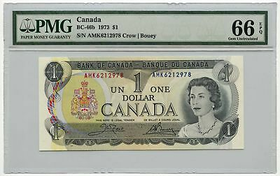 1973 Bank of Canada $1 Note BC-46b PMG Gem UNC 66 EPQ Crow/Bouey