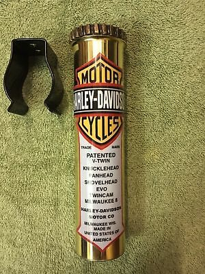 Brass Special Edition Motorcycle Stash Tube-With Decal,indian,hot Rod,rat Rod