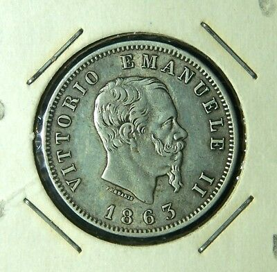 Italy 1863 10 Centesimi and (2) 1863 M 1 Lira (both versions) - 3 Nice Coins!