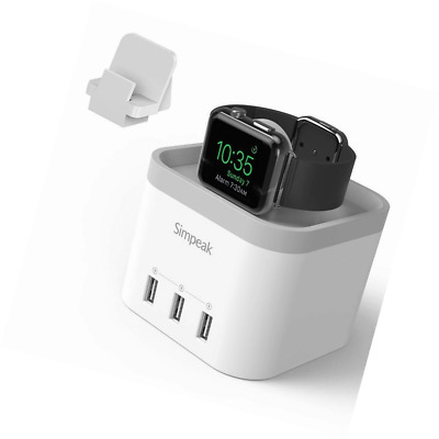 Simpeak 4 Port USB Charger Stand for Apple Watch 1/2/3 [Nightstand Mode] - Grey/
