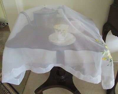 Throwover Food cover/cloth Sheer fabric with yellow silk embroidered flowers