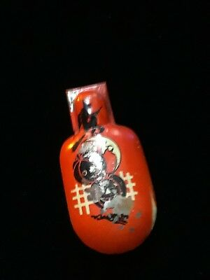 Vintage Halloween Tin Metal Claker Noisemaker Flying Witch and Moons 1930's USA