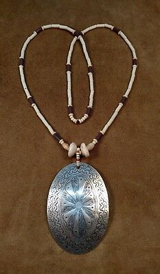 Hand Engraved Silver Gorget & French Wampum Necklace Eastern Woodland Longhunter