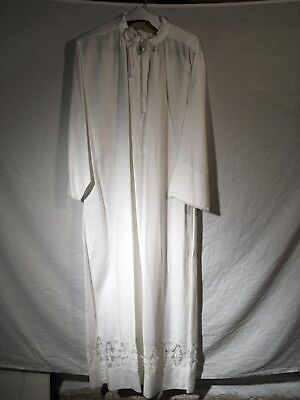 Custom White Pure Linen Lace Alb (Traditional, Liturgy, Vestment, Mass)