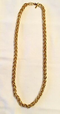 Signed Monet Chunky Thick Gold Rope Chain Necklace