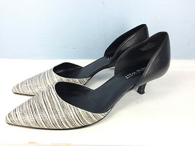 353632f9706 Nine West D orsay Black White leather Women s 9 M Selena Pointed Toe Kitten  Heel