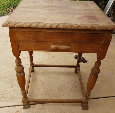 Genuine Antique, Solid oak Edwardian side table, occasional table, hallway